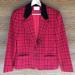 Vintage Pendleton Wool Blazer   Red Black Plaid 8